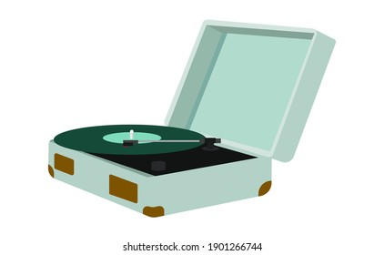 turntable in a mint case. vector isolated image. open suitcase.