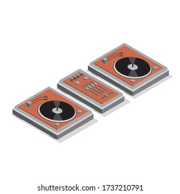 Turntable and Mixer Isometric Audio Music Sound Vector Illustration