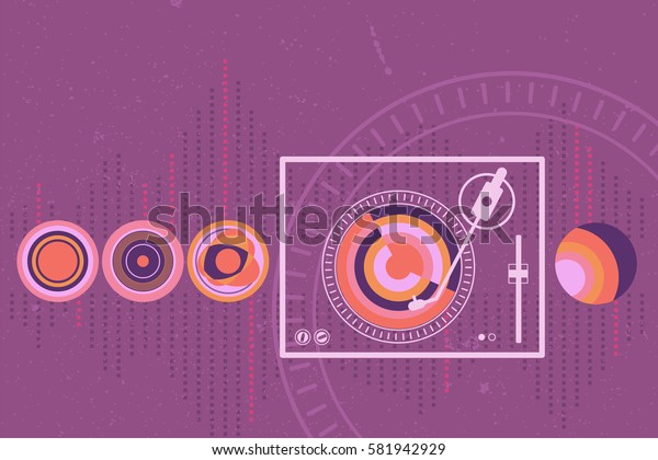 Turntable and music vinyl graphic symbol with sound wave as background.