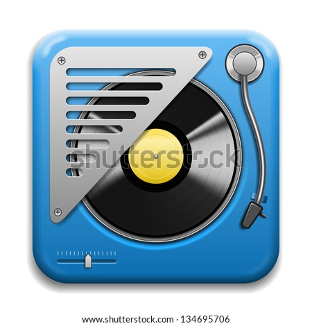Turntable musical Vector Icon isolated on white background