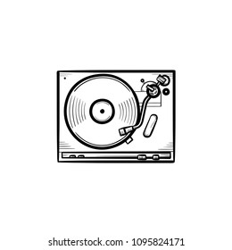 Turntable sound mixer hand drawn outline doodle icon. Vinyl record phonograph, DJ set concept vector sketch illustration for print, web, mobile and infographics isolated on white background.
