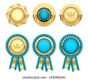 Turquoise award rosettes and gold heraldic medals, prize seal or insignia, vector