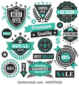 Turquoise badges, ribbons and stickers set. Vector illustration isolated on white background