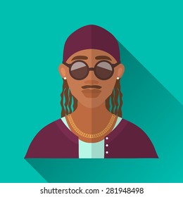 Turquoise blue flat style square shaped male character icon with shadow. Illustration of an african american rapper man with moustache and braided hair wearing gold chain and round sunglasses, .