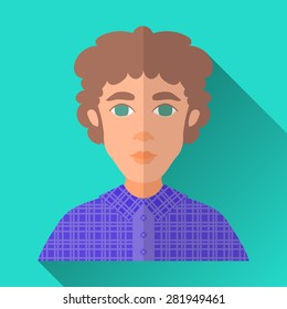 Turquoise blue flat style square shaped male character icon with shadow. Illustration of a young man with brown curly hair wearing a violet check shirt.