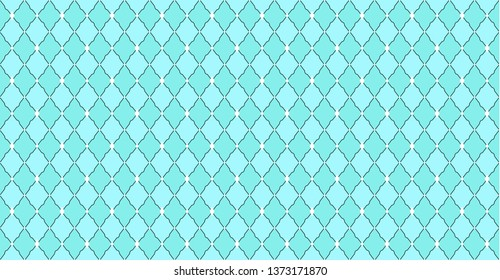 Turquoise blue green pattern with rhombuses and white dots stars. Solid elegant wedding backdrop. Element of design for party. Arabic traditional ornate. Premium luxury toy print. Fabric little prince