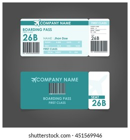 turquoise boarding pass.  Airline boarding pass ticket for traveling by plane. concept of travel, journey or business with bar code. Vector illustration.