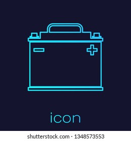 Turquoise Car battery line icon isolated on blue background. Accumulator battery energy power and electricity accumulator battery. Vector Illustration