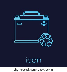 Turquoise Car battery with recycle line icon isolated on blue background. Accumulator battery energy power and electricity accumulator battery. Vector Illustration