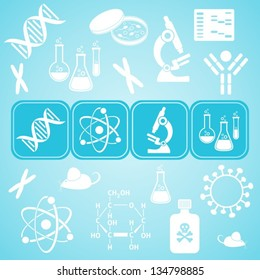 Turquoise card with white molecular biology science icons