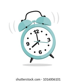 Turquoise clock isolated in flat style. Vector illustration.