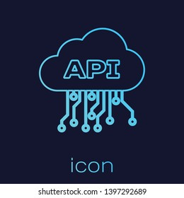 Turquoise Cloud api interface line icon isolated on blue background. Application programming interface API technology. Software integration. Vector Illustration