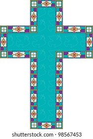 A turquoise color cross has outlines of peace doves and a stain glass border.