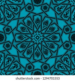 Turquoise Colorful Ottoman Star Transition Patterned