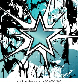 Turquoise colroed rock n roll grunge star vector background