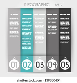 turquoise column infographic five options in rings. infographic concept.