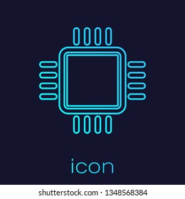 Turquoise Computer processor with microcircuits CPU line icon isolated on blue background. Chip or cpu with circuit board sign. Micro processor. Vector Illustration