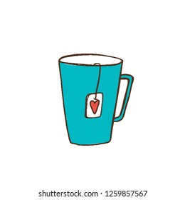 turquoise Cup with a heart label. Valentine's day gift, postcard
