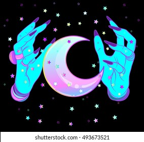 Turquoise female alien hands with moon on black. Creepy cute vector illustration. Gothic design, mystic magic symbol, pastel colors. Future telling, Halloween concept.