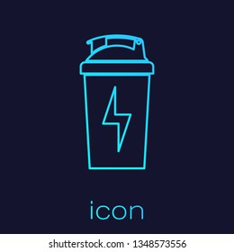 Turquoise Fitness shaker line icon isolated on blue background. Sports shaker bottle with lid for water and protein cocktails. Vector Illustration