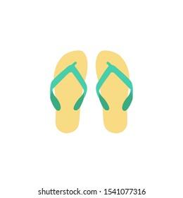 Turquoise flip flops vector illustration.