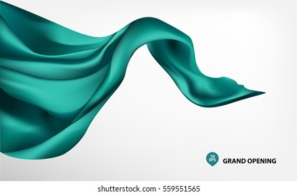 Turquoise flying silk fabric on white background for grand opening ceremony