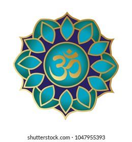 turquoise and gold mandala with OM symbol. logo element