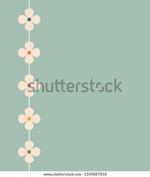 Turquoise green background with flowers retro colors, vector, illustration