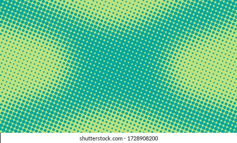 Turquoise green pop art background in retro comic style with halftone dotted design, vector illustration eps10