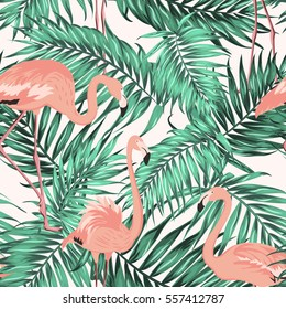 Turquoise green tropical jungle palm tree leaves. Pink exotic flamingo wading birds. Seamless pattern texture on white background.
