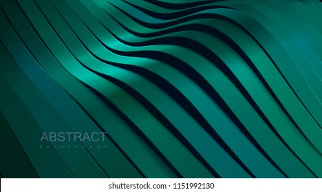 Turquoise green wavy ribbon background. Abstract papercut decoration. 3d topography relief. Vector realistic illustration. Modern cover layout template. Architectural concept