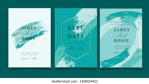 Turquoise green Wedding invitation, RSVP, thank you cards. Vector elegant rustic template. Swirls of marble or the ripples of agate. Liquid marble texture and Golden metallic. Fluid art.