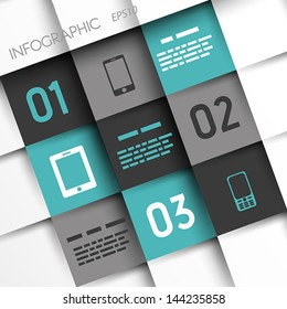 turquoise and grey infographic squares with mobile icons. infographic concept.