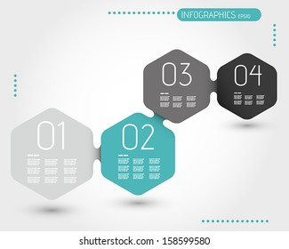 turquoise hexagonal infographic template with four steps. infographic concept.