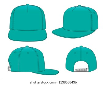 Turquoise Hip Hop Cap & Snap Back
