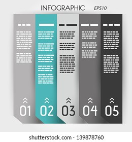 turquoise infographic five options notebook columns. infographic concept.