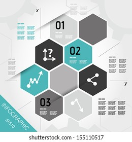 turquoise infographic hexagons with axis. infographic concept.