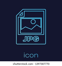Turquoise JPG file document icon. Download image button line icon isolated on blue background. JPG file symbol. Vector Illustration