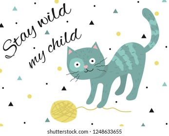 Turquoise kitten playing with a yellow glomerulus. Stay wild my child. Can be used as a postcard, a poster in the children's room, print.