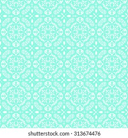 Turquoise lace with floral pattern on a white background