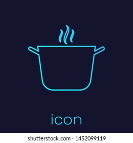 Turquoise line Cooking pot icon isolated on blue background. Boil or stew food symbol.  Vector Illustration