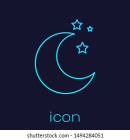 Turquoise line Moon and stars icon isolated on blue background.  Vector Illustration