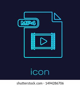Turquoise line MP4 file document. Download mp4 button icon isolated on blue background. MP4 file symbol.  Vector Illustration