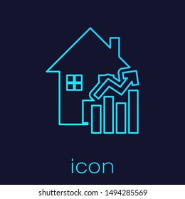 Turquoise line Rising cost of housing icon isolated on blue background. Rising price of real estate. Residential graph increases.  Vector Illustration