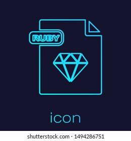 Turquoise line RUBY file document. Download ruby button icon isolated on blue background. RUBY file symbol.  Vector Illustration