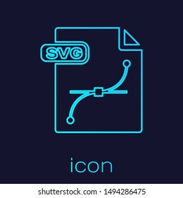 Turquoise line SVG file document. Download svg button icon isolated on blue background. SVG file symbol.  Vector Illustration
