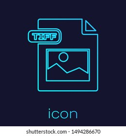 Turquoise line TIFF file document. Download tiff button icon isolated on blue background. TIFF file symbol.  Vector Illustration
