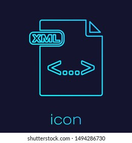 Turquoise line XML file document. Download xml button icon isolated on blue background. XML file symbol.  Vector Illustration
