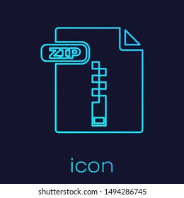 Turquoise line ZIP file document. Download zip button icon isolated on blue background. ZIP file symbol.  Vector Illustration