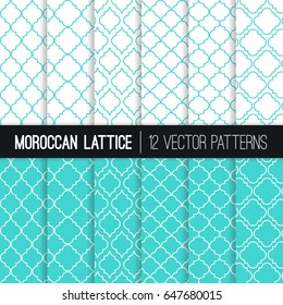 Turquoise Moroccan Lattice Vector Patterns. Set of 12 Modern Elegant Backgrounds. Classic Quatrefoil Trellis Ornament. Pattern Tile Swatches Included.